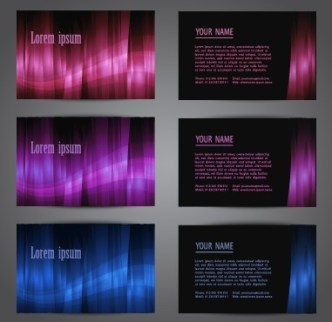 Set of Glossy Business Cards with Abstract Backgrounds Vector 01