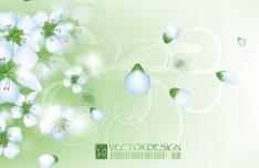 Clean Green Flower & Leaf Background Vector 01