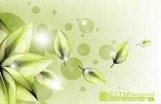 Clean Green Flower & Leaf Background Vector 03