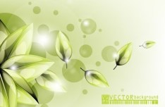Clean Green Flower & Leaf Background Vector 03