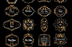 Golden Elegance Ribbon Label Collection Vector 03