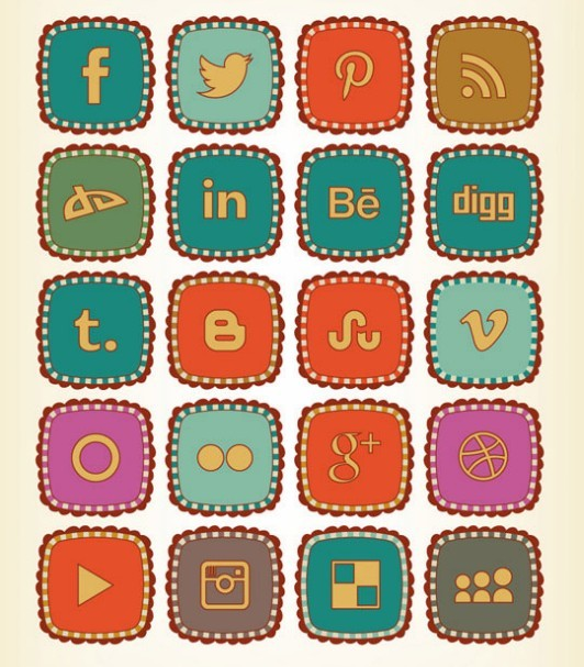 Retro Cartoon Social Media Icon Pack
