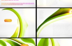 Set Of Vector Abstract Green Leaf Backgrounds