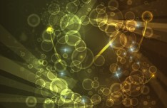 Vector Golden Bubbles and Lights Background