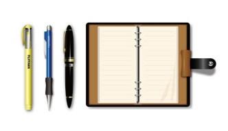 Vector Notepad and Pens Mockup