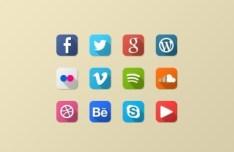 12 Mini Flat Social Icons PSD
