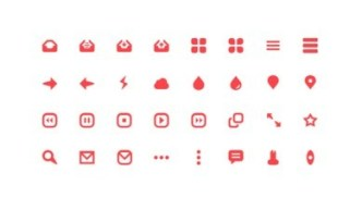 32 Red Web Icons Pack PSD