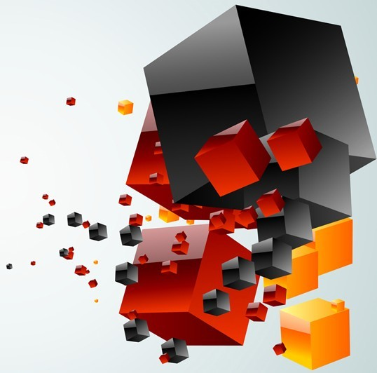 Abstract 3D Colored Boxes Background Vector 01