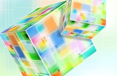 Abstract 3D Colored Boxes Background Vector 04