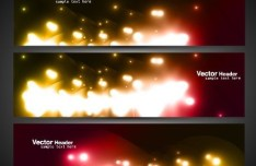 Set Of Vector Header Banner with Bright Halo Backgrounds