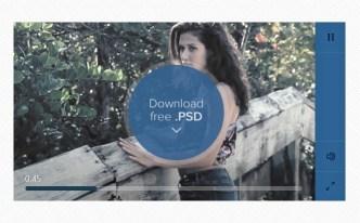 Flat Blue Media Player UI PSD