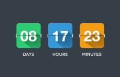 Flat Flip Clock PSD