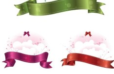 Set Of Clean Clouds With Ribbon Bow Ornaments