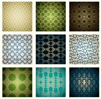 Set Of Vector Seamless Classic Floral Patterns 01