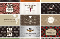 Set Of Vector Vintage Restaurant Card Designs 02