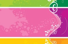 3 Vector Colored Banners with Floral and Splash Backgrounds