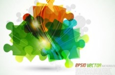 Bright Colorful Puzzles Background Vector 01