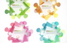 Bright Colorful Puzzles Background Vector 03
