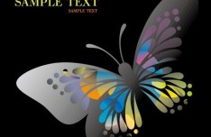 Classical Colored Butterflies and Flowers Vector 04