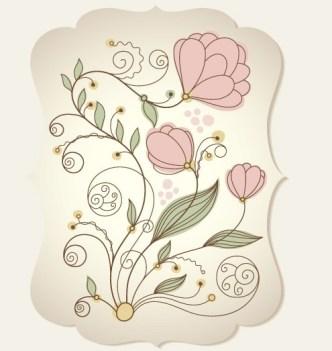 Graceful Classic Flower Label Vector