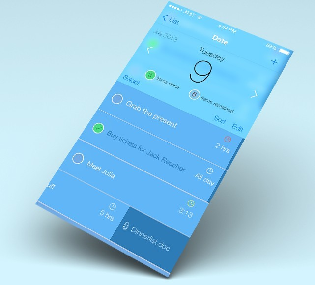 New iOS 7 Style Flat Reminder Interface PSD