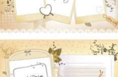 Set Of Clean Photo Frames and Letter Paper Vector