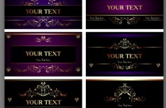 Set Of Vector Purple Cards with Golden Floral Ornaments