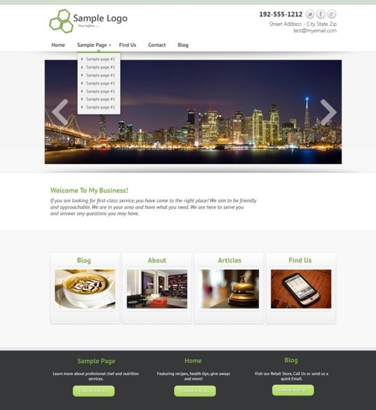 Simple Business Website Template PSD