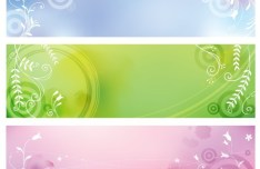 3 Fresh Spring Banners With Flourish Floral Backgrounds Vector