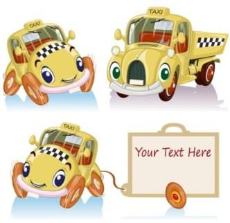 Cute Cartoon Trucks With Labels Vector 02