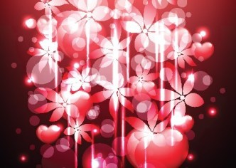 Pink Cherry Blossoms with Halos Background Vector