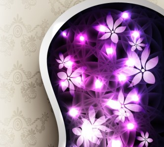 Purple Flowers with Vintage Floral Background Vector