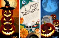 3 Cartoon Happy Halloween Banners Vector