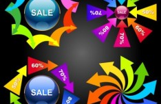 Set Of Colorful Abstract Sales Promotion Circle Icons Vector 01