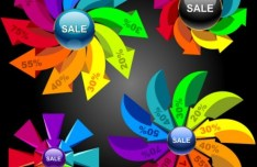 Set Of Colorful Abstract Sales Promotion Circle Icons Vector 03