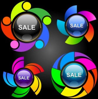 Set Of Colorful Abstract Sales Promotion Circle Icons Vector 05