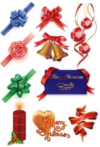 Set Of Vector Elegant Holiday Decorative Elements