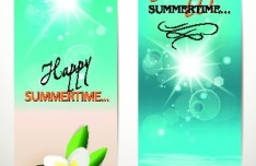 Set Of Vector Fresh Happy Summer Time Banners 01