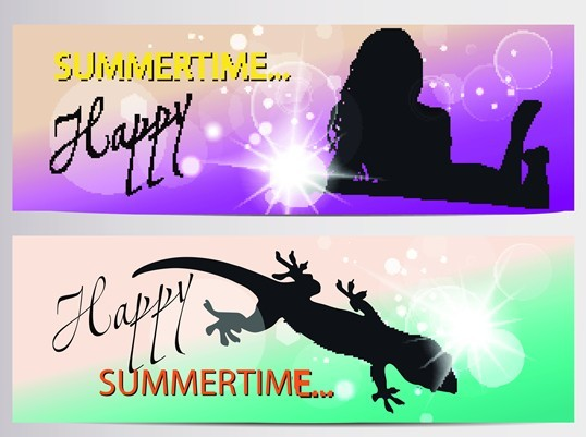 Set Of Vector Fresh Happy Summer Time Banners 02