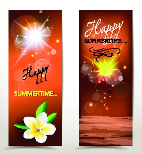 Set Of Vector Fresh Happy Summer Time Banners 04