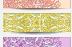 Set Of Vector Vintage Banners with Floral Pattern Backgrounds 01
