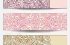 Set Of Vector Vintage Banners with Floral Pattern Backgrounds 04