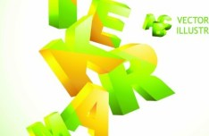 Vector 3D Colorful Letters Design Vector 01