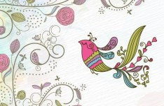 Vintage Hand Drawn Bird and Floral Illustration Vector 05