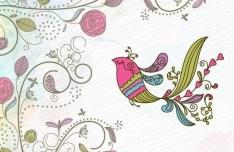 Vintage Hand Drawn Bird and Floral Illustration Vector 05