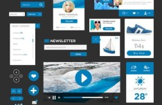 Blue and Dark Flat UI Elements PSD