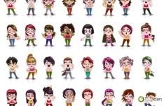 Cartoon Women and Men Icons Set Vector