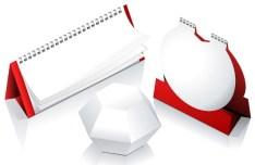 Red and Blank Desk Calendar Mockup Vector