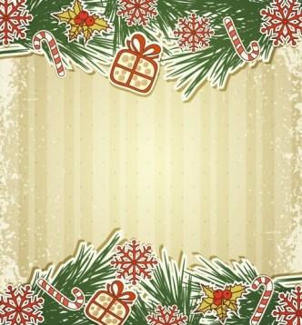 Vintage Merry Christmas Invitation Card Ornaments Vector 02