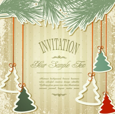 Free Vintage Merry Christmas Invitation Card Ornaments Vector 03 ...